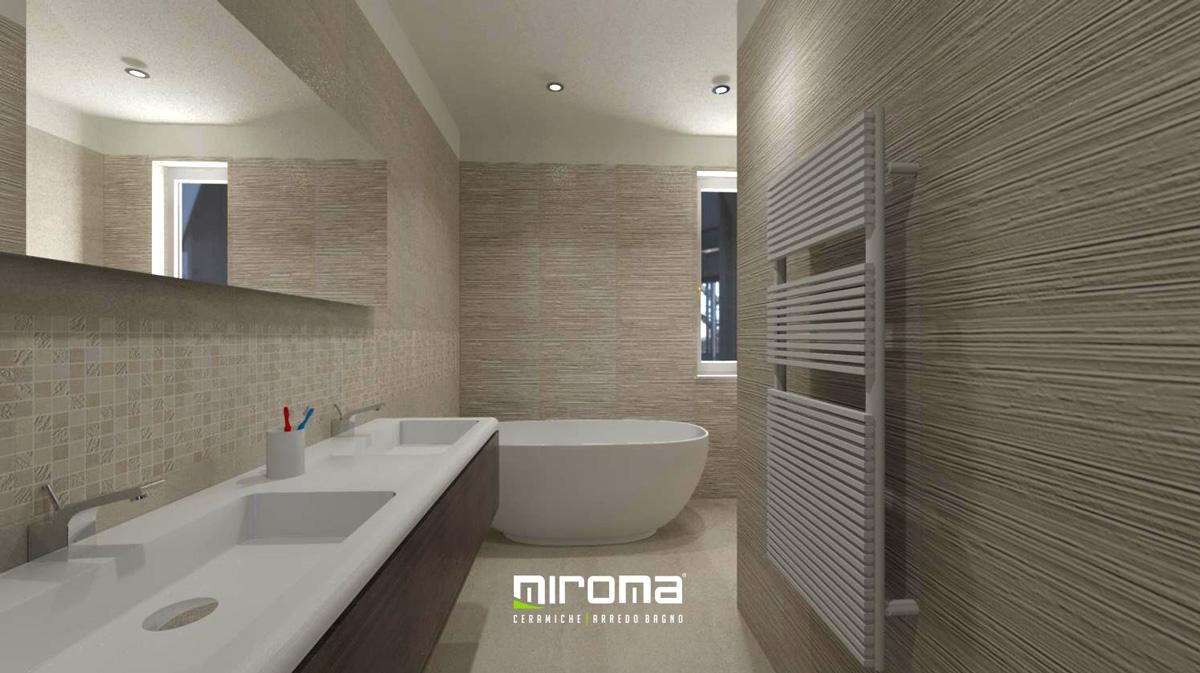 Progetto arredo bagno pavimento e rivestimento caserta 2 miroma ceramiche - Pavimento e rivestimento bagno uguale ...