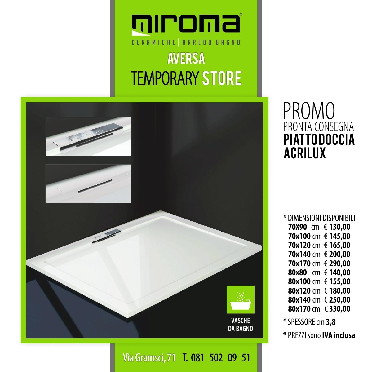 Piatto Doccia 80 X 140 Prezzi.Piatto Doccia Acrilux Miroma Ceramiche
