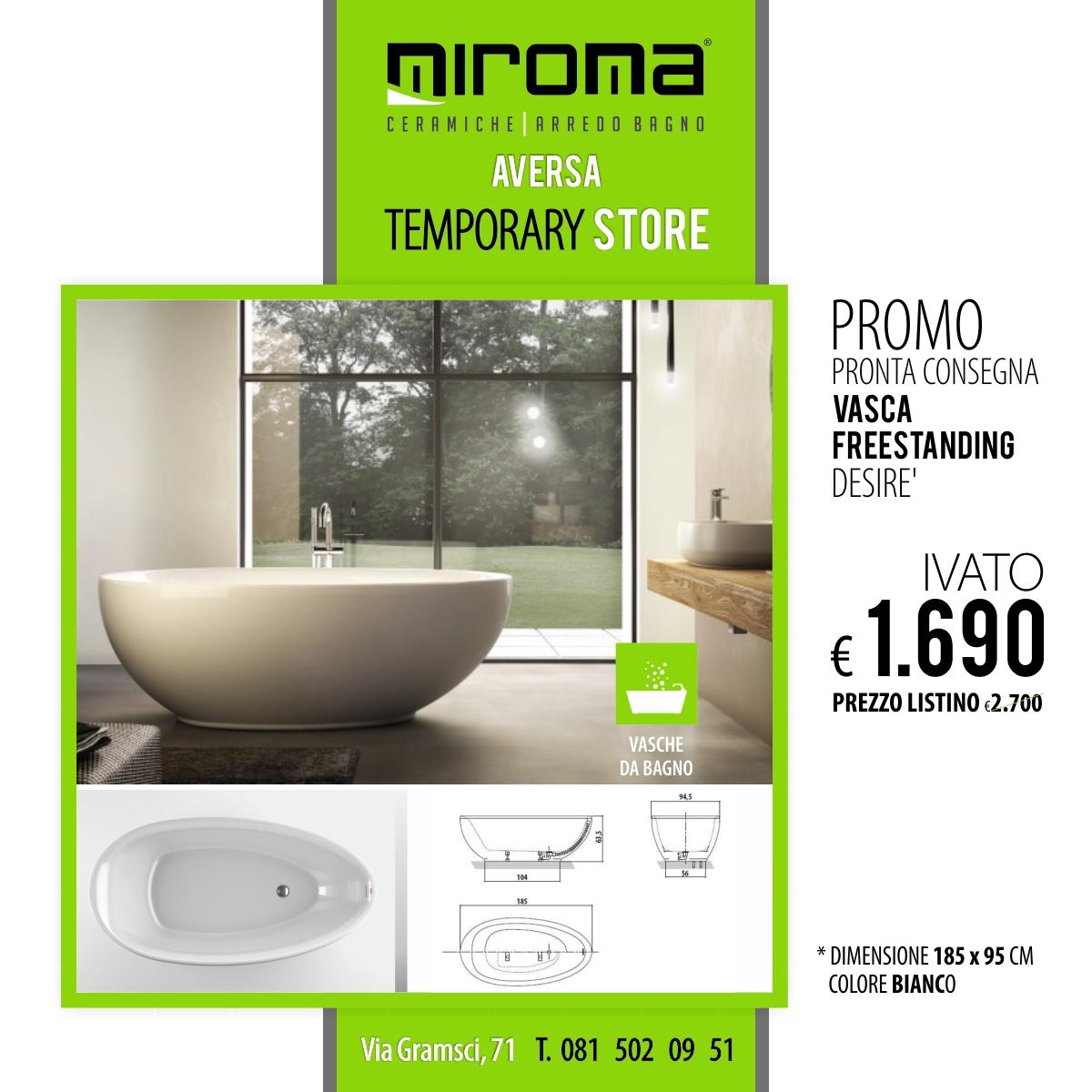 Arredo Bagno Pronta Consegna.Vasca Da Bagno Desire Freestanding Miroma Ceramiche